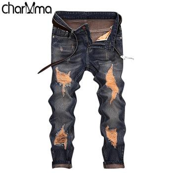 160176024a66254 Известный бренд модные дизайнерские джинсы Для мужчин прямые темно ...