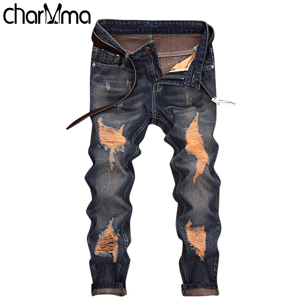 Famous Brand Fashion Designer   Jeans   Men Straight Dark Blue Color Printed Mens   Jeans   Ripped Cotton   Jeans   Nine Minutes of   Jeans