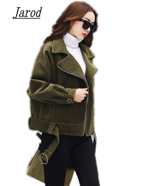 Velvet zipper jacket coat women Cool Army Green casual jacket 2017 ...