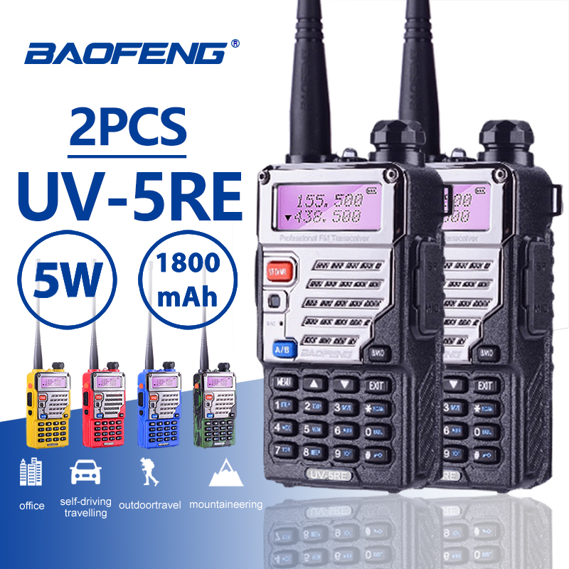 2 PCS Baofeng UV-5RE Long Rang 10 KM Talkie Walkie PTT Écouteurs Portable Radio Amateur Baofeng UV-5R Plus De Voiture Radio station UV5R