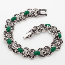 Yunkingdom Indian Woman Bohemian Ethnic Jewelry Silver Color Bracelets Green Stones Jewelry wholesale YUN0620(China)