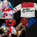 Joker Suicide Squad Harley Quinn Uniform Daddy's Lil Monster Jacket Shorts T Shirt Set Halloween Cosplay Costumes For Women