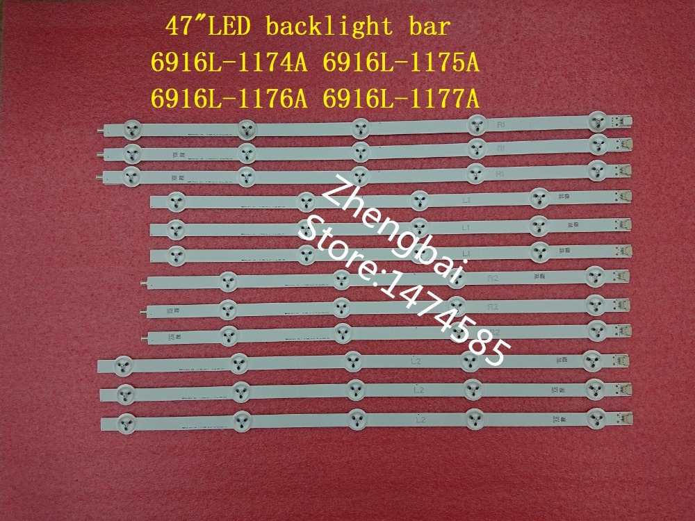 New original Kit 12 PCS LED backlight strip for LG 47LN 47LA620S 47LN5400 6916L 1174A