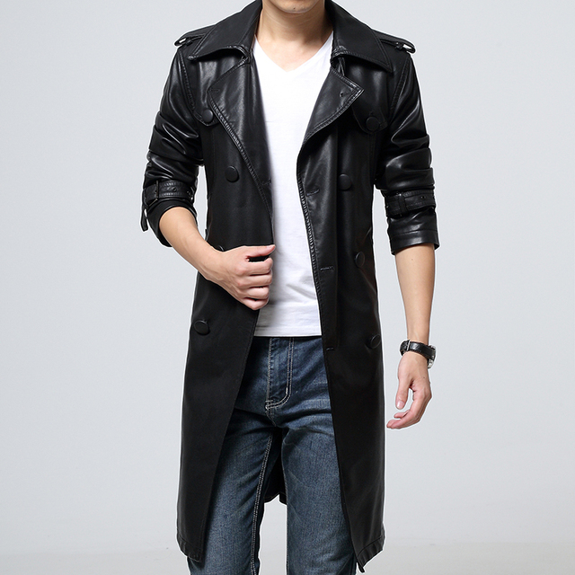 New 2016 autumn faux leather jacket men long leather overcoat veste cuir homme double breasted jaqueta de couro masculina /PY17