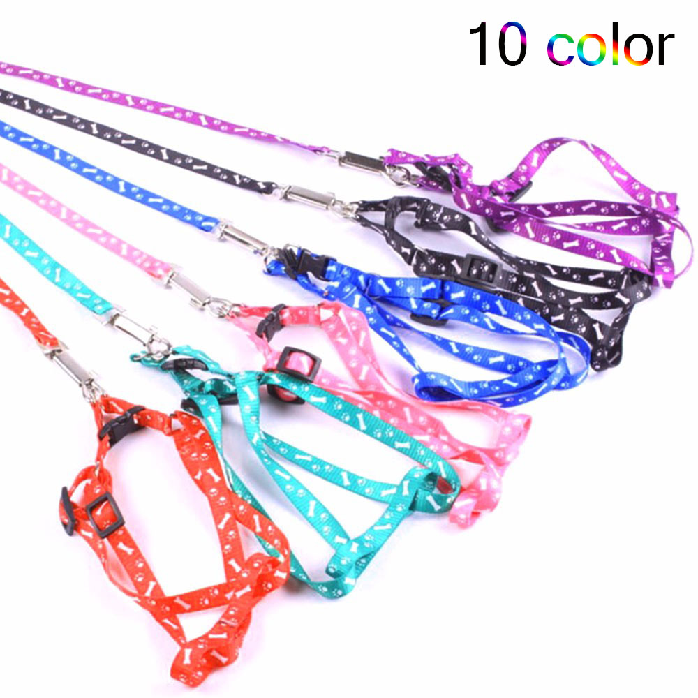 Nylon Dog Pet Puppy Cat Adjustable Harness With Lead Leash 10 Multiple Colour To Choose Toys Leash Chain Collars Interactive Toy