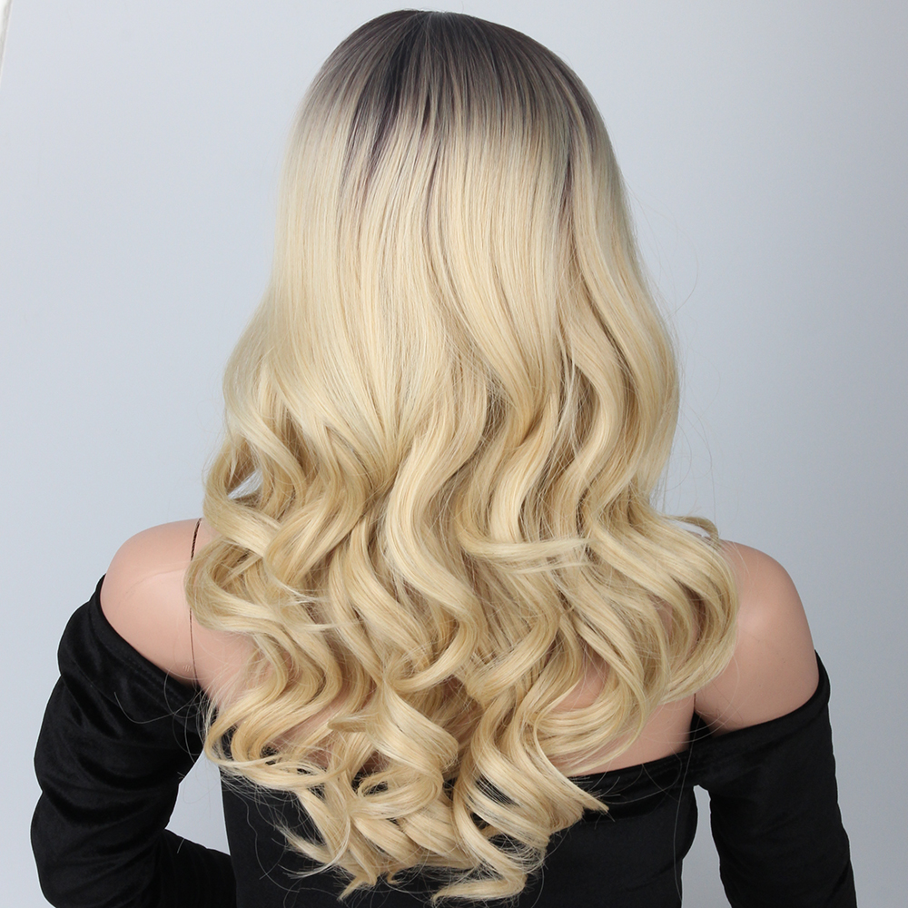 Pageup Long Body Wave Synthetic Wig For Women Middle Part High Temperature Fiber Ombre Color Cosplay Blonde Wig