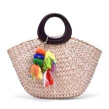 Retro simple handmade straw bag Summer new Portable hand