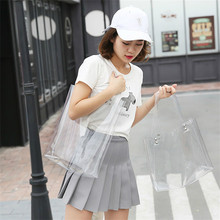 Hot Sale Transparent PVC Handbag Hologram beach Shoulder bag Women Personality Jelly Tote Female Fashion Plastic Clear Bag Funny(China)