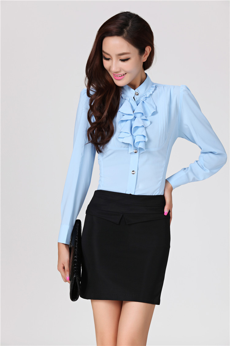 Us 34 4 Spring 2015 Formal Female Office Uniform Style Women Suits With Skirt And Blouse Sets White Ladies Work Wear Elegant Ruffles In Skirt Suits