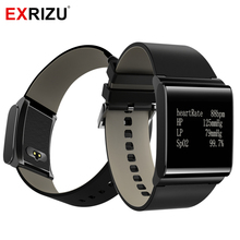EXRIZU X9-Plus Leather Strap Smart Wristband Smartband Blood Pressure Monitor Fitness Bracelet Heart Rate Meter Watch Pedometer