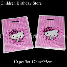 b95e25d1daee 10pcs lot Hello Kitty gift bags kids birthday party decorations Hello Kitty  plastic candy bags
