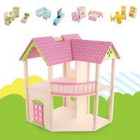 Деревянный нежный кукольный домик игрушечная мебель миниатюрная кукла игрушечные дома для Детей Забавные ролевые игры подарок для детей