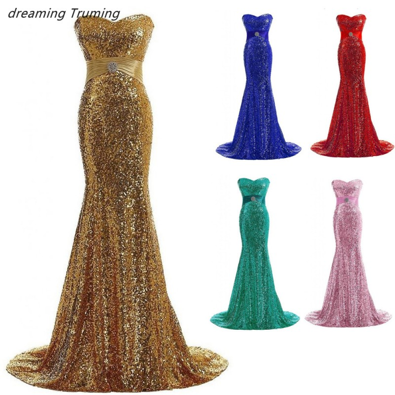 Sparkly Sequined Gold Mermaid   Bridesmaid     Dresses   Sweetheart Floor Length Court Train Formal Party Gown Robe Demoiselle D'honneur