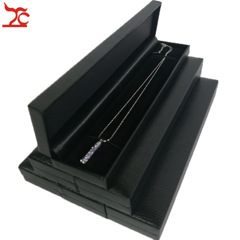 6Pcs Black Jewelry Display Box High Quality Leatherette Bead Chain Bracelet Package Case Necklace Storage Gift Box 22.6*5*2.5cm
