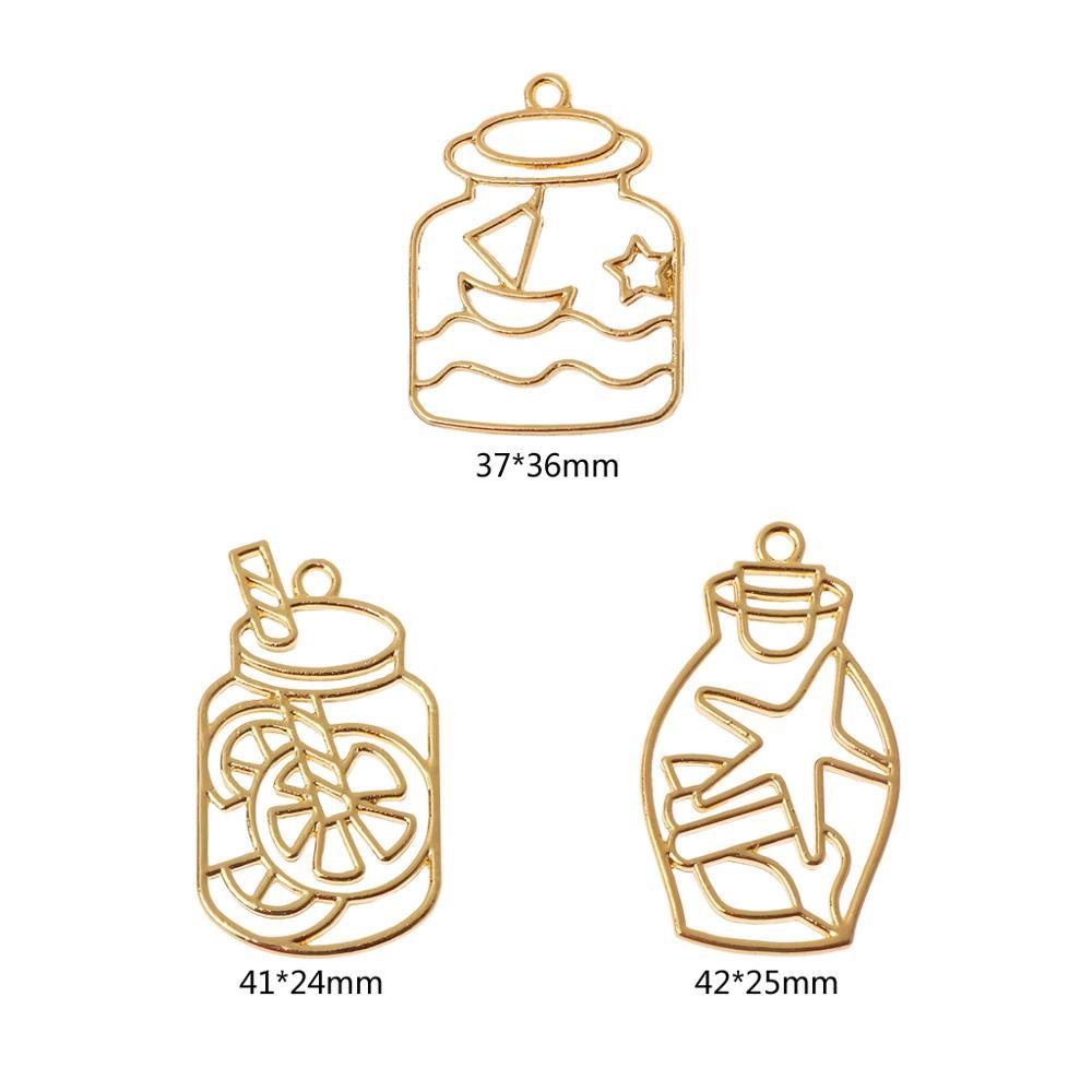 5Pc Magic Drift Bottle Blank Frame Pendant Bezel Setting UV Resin Jewelry Making