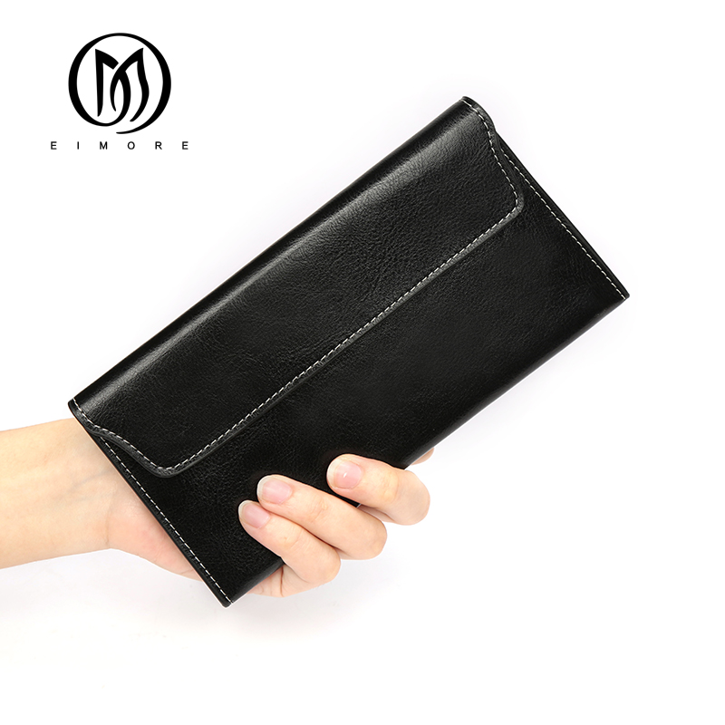 EIMORE Genuine Leather Womens Wallet Thin Ladies Wallet For Credit Cards Designer Brand Luxury Women Wallet Purse Carteras Mujer