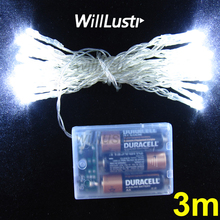 willlustr LED christmas lights fairy string light holiday lamp 3 meters warm pure white blue party 3M string 3AA battery powered