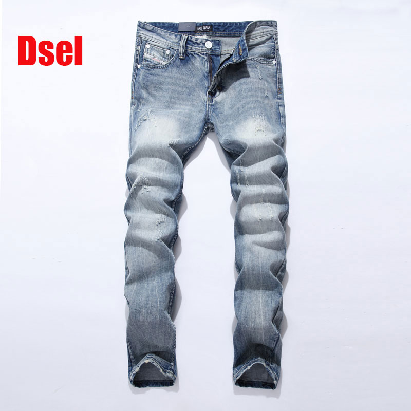 2017 New Dsel Brand Jeans Men Famous Blue Men Jeans Trousers Male Denim Straight Cut Fit Men Jeans Pants,whit Jeans men s cowboy jeans fashion blue jeans pant men plus sizes regular slim fit denim jean pants male high quality brand jeans