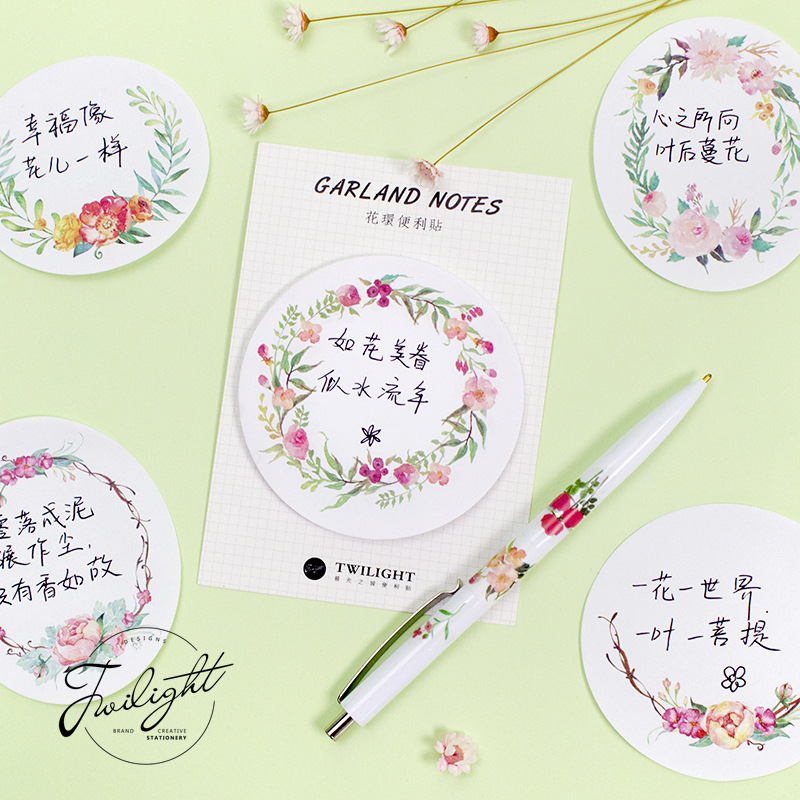 20 sets/1 lot Creative Wreath series Memo Pad Sticky Notes Escolar Papelaria School Supply Bookmark Post it Label