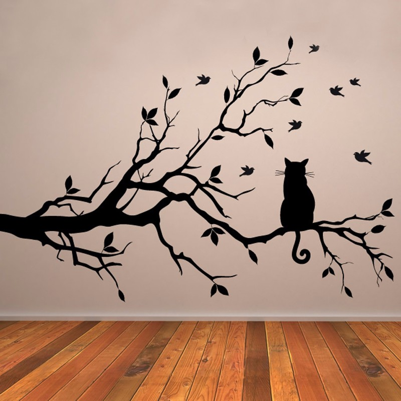 Cat On Tree Branch Birds Vinyl Wall Sticker Wall Art Decorative ...