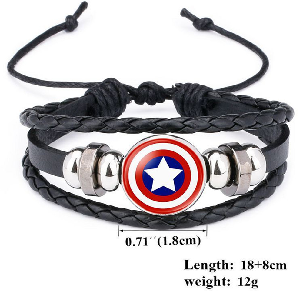 Bracelet Jewelry Captain-America-Shield Thor Deadpool Punk Avengers Kids Charms Multilayer