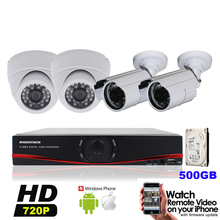 4CH CCTV System HDMI 960H 4X1200TVL Security Camera Surveillance System 500GB HDD Support iPhone& Android OS Mobile Phone View