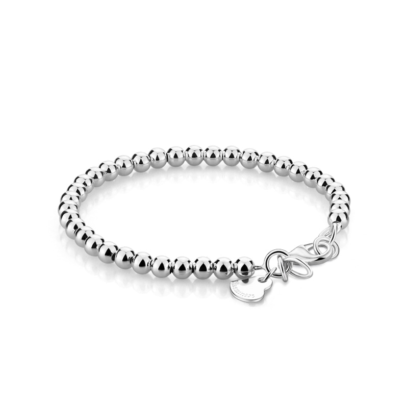 Genuine Simple Silver Beads Bracelet Solid 925 Sterling Silver