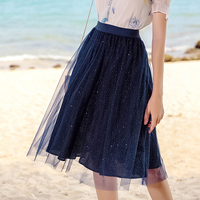 New silver Sequin dot skirts Summer female chic Tulle skirts high waist elastic skirt elegant Polka dot mesh skirt dark blue