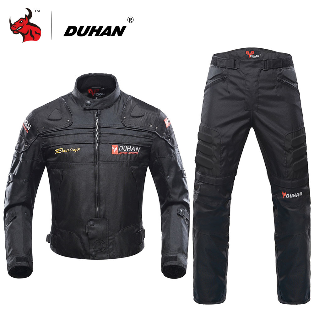 DUHAN Motorcycle Jacket Protective Gear Blouson Moto Men Motocross Off-Road Racing Jacket Body Armor+ Riding Pants Clothing Set riding tribe men motocross off road racing jacket motorcycle windproof waterproof riding travel clothing with 5 protective gear