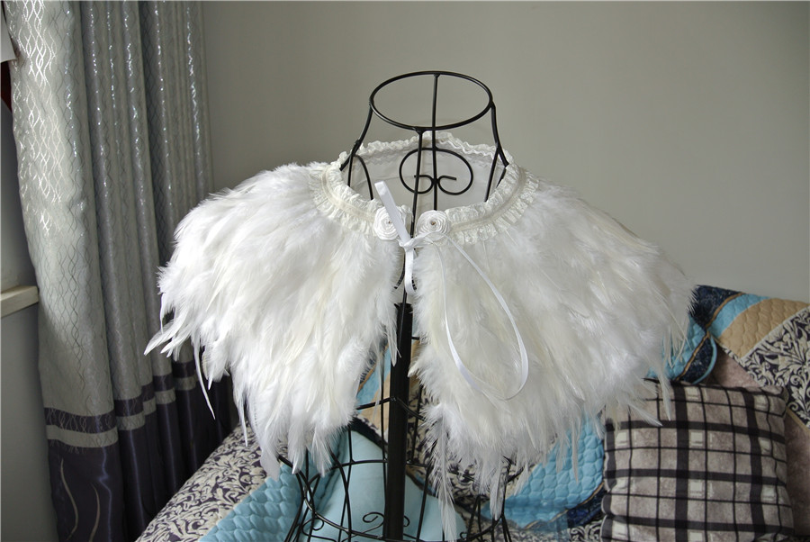 cb0bbd1198e White feather cape top feather jacket feather shawl Carnival feather  shoulder shrug burning man festival supply-in Feather from Home & Garden on  ...