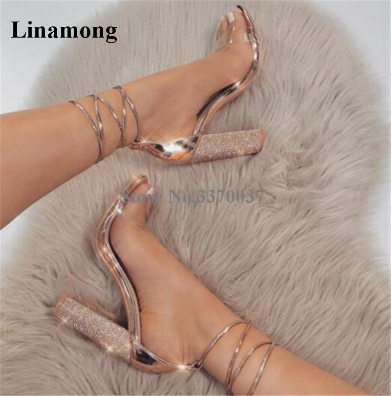 Women Fashion Open Toe PVC Straps Bling Bling Champagne Gold Chunky Heels Sandals Lace-up Rose Gold Rhinestone High Heel Sandals