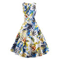 Elegant Vintage Dress 2016 New Arrival Floral Print Retro Dress 50s Sleeveless O-neck Party Dresses Brand Women Clothes DR322