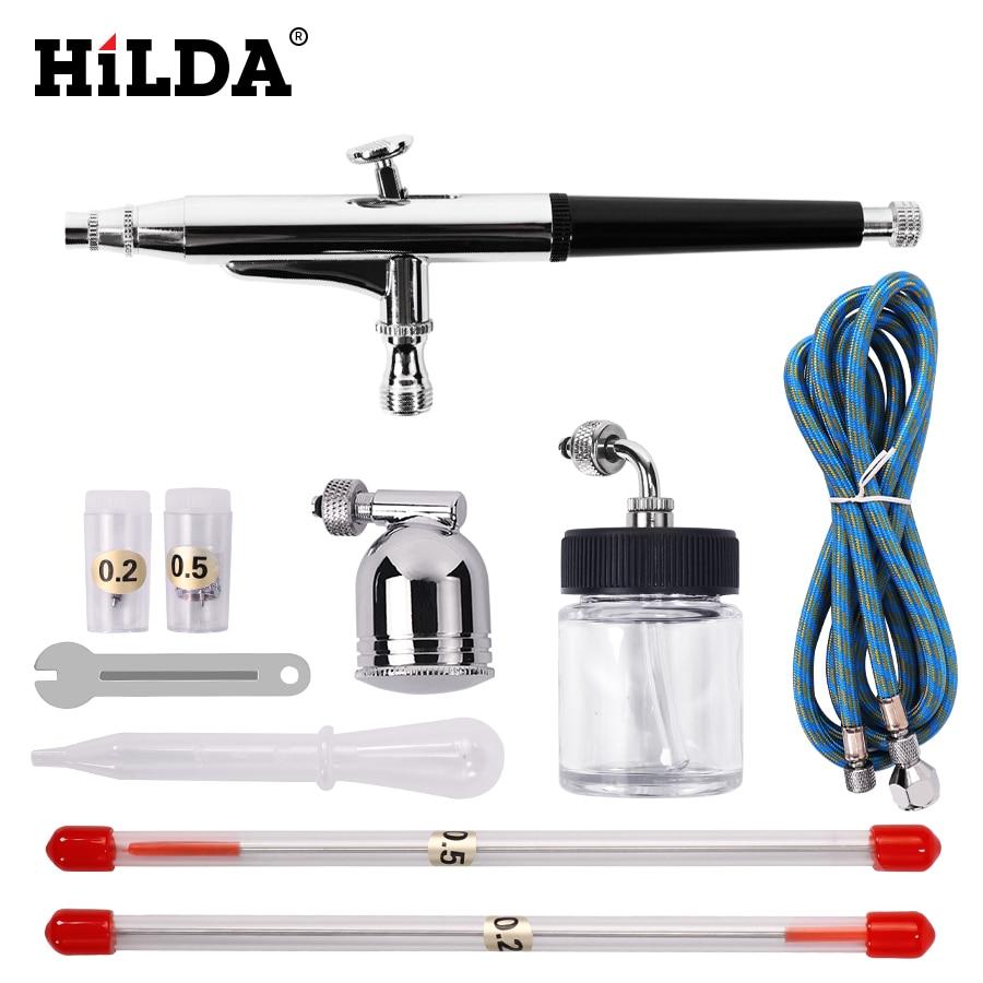 Hilda portátil 0.2/0.3/0.5mm agulhas bicos dupla ação airbrush compressor de ar kit ofício cakepaint arte pistola pneumática