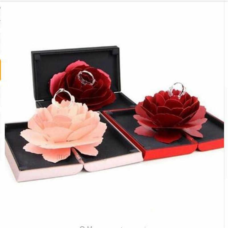 2019 Vouwen Bloem Ring Doos Roterende Rose Ring Box Verjaardag Valentijnsdag Wedding Sieraden Display Dozen W3