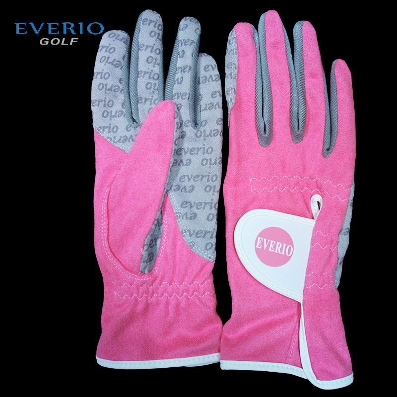 Wholesale - EVERIO Womens Golf Gloves lady non-slip Breathable waterproof ultra-fiber cloth golf Sports gloves 5pair/lot