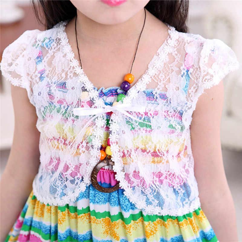 ילדים של תינוק בנות תחרה צעיף מעיל שרוכים בולרו מעיל חתונה קצר הלבשה עליונה ילדי אופנה קיץ בגדי 2 -8 שנים A20