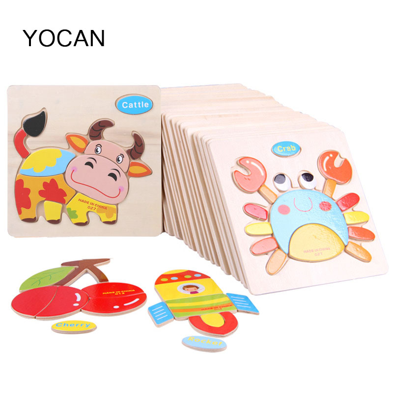 Wooden 3D Puzzle Jigsaw Wooden Toys For Children Cartoon brain teaser Puzzles Intelligence Kids montessori Educational Toy Toys electric spider robot toy diy educational intelligence development assembles kids children puzzle action toys kits
