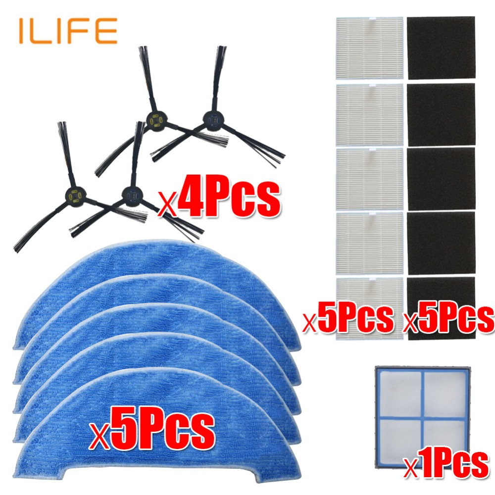 Robot Vacuum Cleaner HEPA Filter Side Brush Mop For Ilife V8 V8s X750 A7 X800 X785 V80 Robotic Vacuum Cleaner Parts Accessories