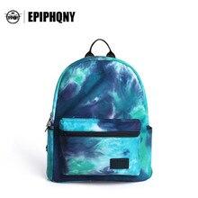Epiphqny известный бренд европейских и американских Стиль небесно-рюкзак с принтом цветок холст Рюкзаки Для женщин рюкзак синий модные Дизайн