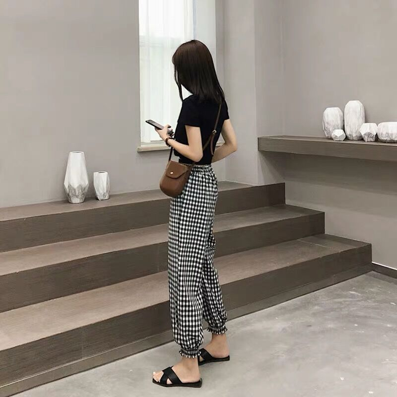 Summer Seaside Women Sets Clothes Black Pullover O-neck Tops Elastic Waist Ankle-length Pants Fashion And Casual 2 Pcs Set 5