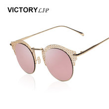 VictoryLip Polarized Vintage Style Cat Eye Mesh Sunglasses Metal Frame Sexy Female Shades Mirror Retro Circle Round Sun Glasses