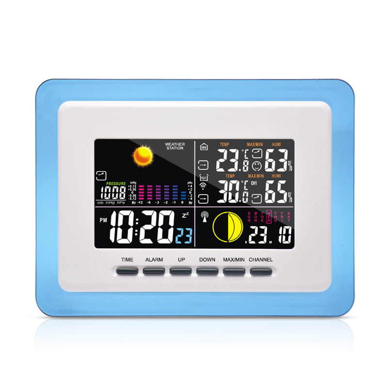 DYKIE RF RCC Wireless Weather Station with Indoor Outdoor Thermometer Hygrometer Barometer Digital Alarm Clock Power
