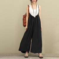 2017 ZANZEA Women Overalls Wide Leg Pants Solid Dungarees Loose Trousers Plus Size S 5XL Rompers