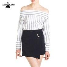 MissKoKo Solid Color Fashion Skirts Women Summer High Waist Metal Buckle Belt Mini Skirts Brief Style Female Sexy Street Skirt