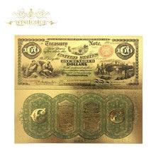 Money Gold Souvenir Foil-Paper Banknote Gifts Bills for 10pcs/Lot 24K in