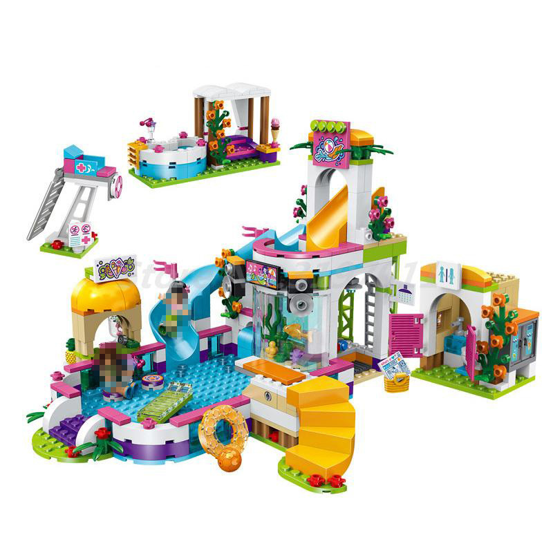 BELA 10611 593pcs City Friend Princess Heartlake Summer Pool Figure Andrea Martina Building Blocks Bricks Toys For Kids Gifts
