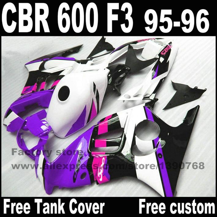 High quality Fairings set for HONDA CBR 600 F3 1995 1996 purple white black fairing body kits cbr600 95 96 +tank cover YP75