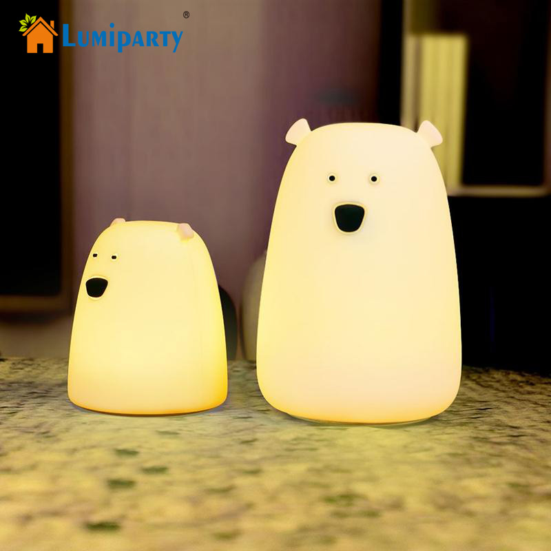 Litake LED Night Light Colorful Little Bear Silicone 7 Colors Touch Sensor lights Children Cute Night Lamp Bedroom Light cute 3d rilakkuma bear jelly silicone cover for ipod touch 6 touch 5 red