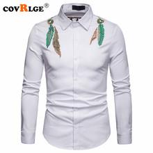 Covrlge Fashion Male Shirt Long -Sleeves Tops Embroidery Mens Hawaiian Slim Men Button Down MCL193
