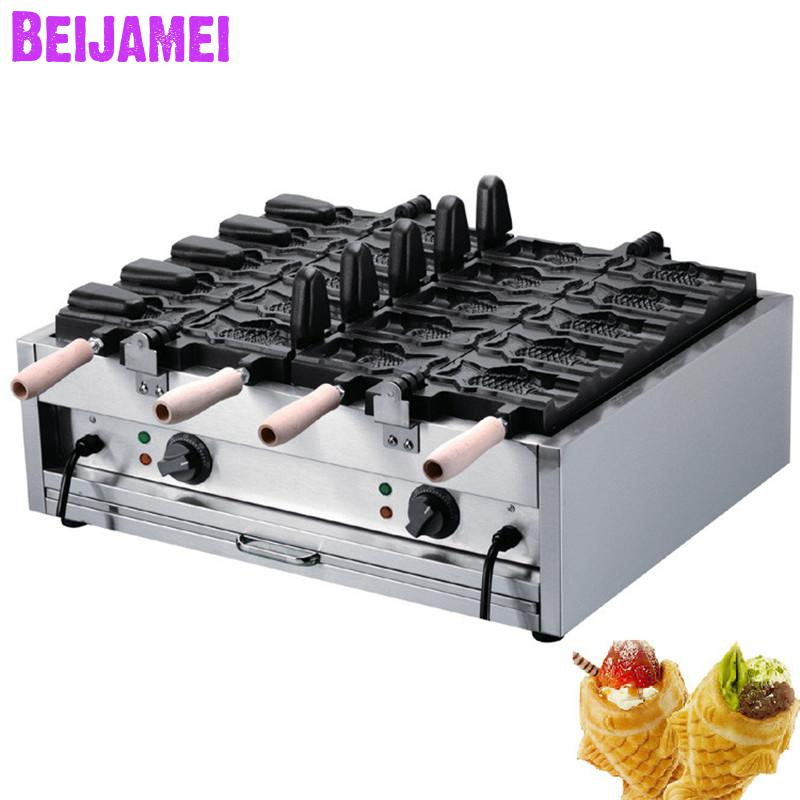 BEIJAMEI 1102C Small business fish waffle maker commercial ice cream fish shape waffle baker open mouth